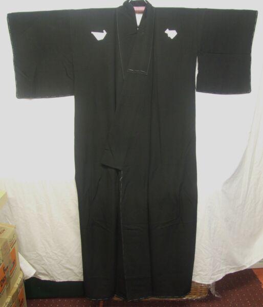 Activo Nuevo Hombre Formal Negro Kimono De Seda Japonés, Excelente Estado-k411-ver ArtesaníA Exquisita;