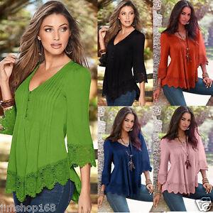 Women-039-s-Lace-Crochet-V-Neck-Long-Sleeve-Shirt-Casual-Blouse-Pullover-Tops-Shirt