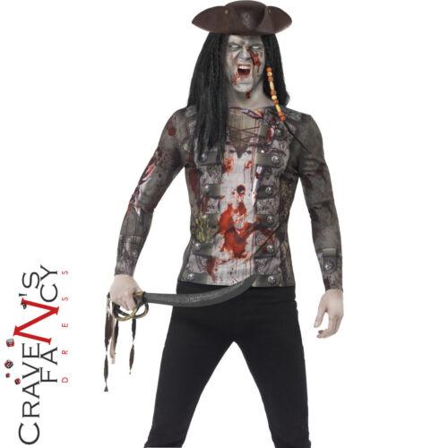Adulto Pirata Zombie T-shirt da Uomo Halloween Horror Costume Vestito Nuovo