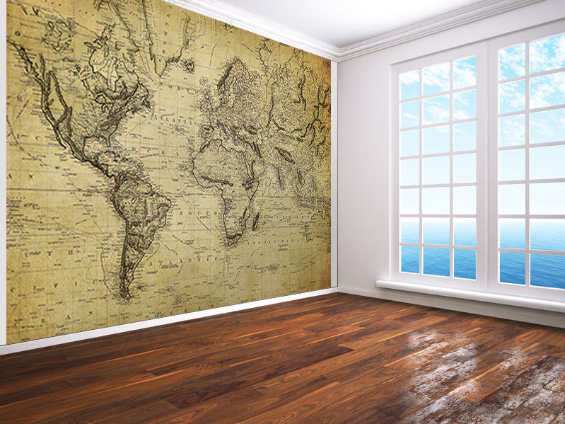 Vintage map of the world 1814 photo Wallpaper wall mural (15317377)