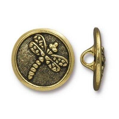 Antiqued Copper Plated Lead Free Pewter T843 TierraCast Dragonfly Button