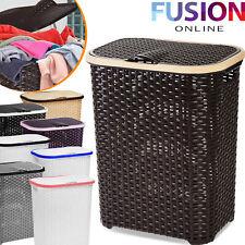 Laundry Basket Washing Clothes Storage Hamper Rattan Style Plastic Basket Large