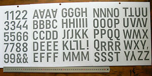 STENCIL-Alphabet-amp-Numbers-MASK-102-Items-44mm-high-amp-Mostly-25mm-wide-L1R