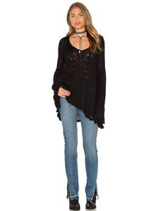 NWT-Free-People-Waterfall-Sweater-Top-Pullover-Knit-Black-XS-S-M-Semi-Sheer-Soft
