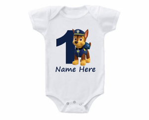 Paw Patrol Chase Birthday Onesie Shirt Personalized 1st 2nd 3rd 4th 5th