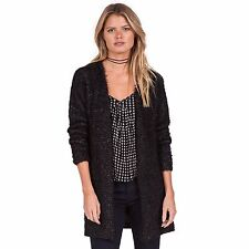 2016 NWT WOMENS VOLCOM FADED RAYS SWEATER CARDIGAN $75 S black acrylic polyester
