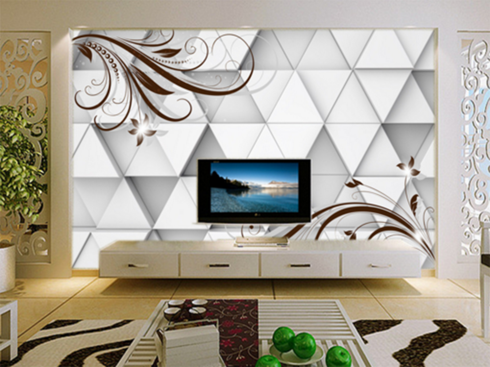 3D Triangle Pattern Squid Paper Wall Print Wall Decal Wall Deco Indoor Murals