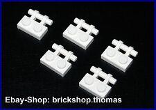Lego 5 x Platten mit Griff (1x2) weiß - 2540 - Plate with Handle white - NEU/NEW