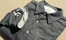 RAG & BONE Two Face Homespun Cotton Salt & Pepper Gray Chambray Shirt Men's XL