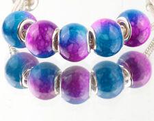 5pcs SILVER MURANO Gradient spacer beads fit European Charm Bracelet DIY A#928