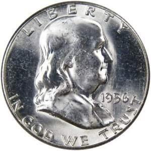 1956-50c-Franklin-Silver-Half-Dollar-US-Coin-Uncirculated-Mint-State