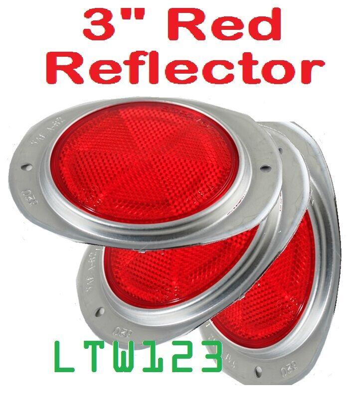 United Pacific 2 Amber 3 Round Truck Semi Trailer Mail Box Reflex Reflectors//Aluminum Base