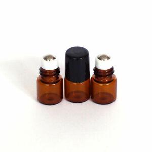 NE-10x-1ml-Empty-Brown-Glass-Bottle-Roller-Ball-Essential-Liquid-Container-Supp