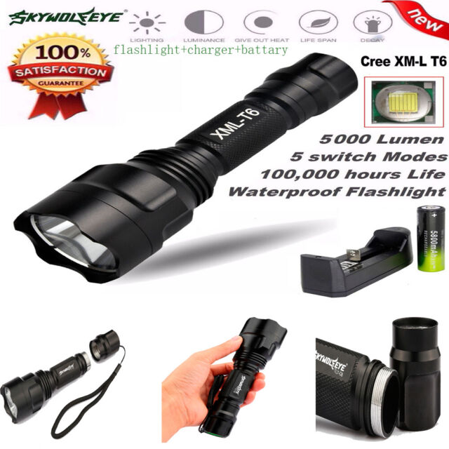 5000Lm Tactical XM-L T6 LED 18650 Flashlight 5Mode Torch Light Lamp Rechargeable