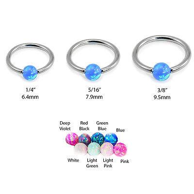 316L Surgical Steel Captive Bead Nose Ring Septum Hoop Opal Ball 18G 20G 16G