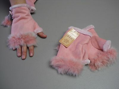NWT Women's J.T.C. Wool / Leather Fingerless Fashion Gloves One Size Pink #181G
