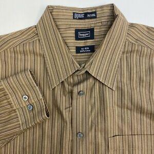 Haggar-Button-Up-Shirt-Mens-2XL-Non-Iron-Brown-Stripe-Long-Sleeve-Casual