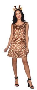 Adult Ladies Zoo Safari Animal Giraffe Lady Fancy Dress Costume Womens Outfit