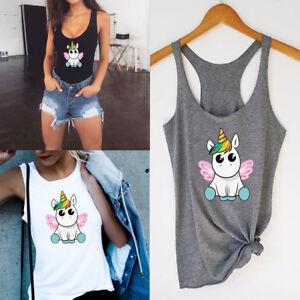 Unicorn-print-T-shirt-Vest-Cute-Camisole-Sleeveless-Women-Tank-Top