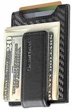 Secure Slim Carbon Fiber Money Clip Wallet RFID Card Holder with Leather Clip