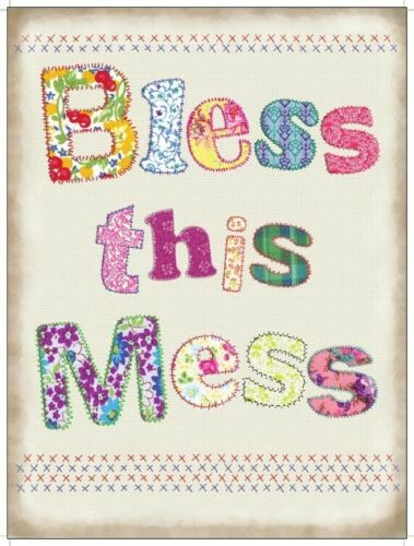 """BLESS THIS MESS COLLECTABLE REPRO 12/""""X 8/"""" METAL SIGN,VINTAGE STYLE 30x20cm"""