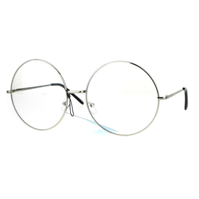 womens huge oversize large retro hippie round circle clear lens  picture 2 of 4