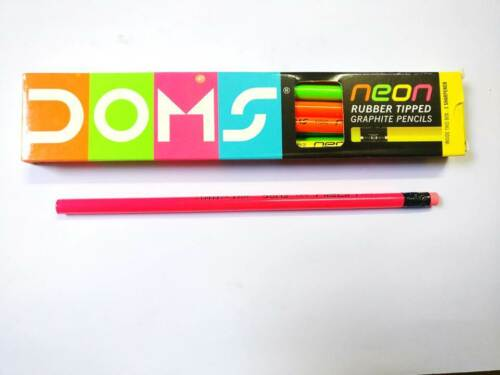 10x Doms Neon Rubber Tipped Graphite PencilHigh Quality LeadSoftened Wood