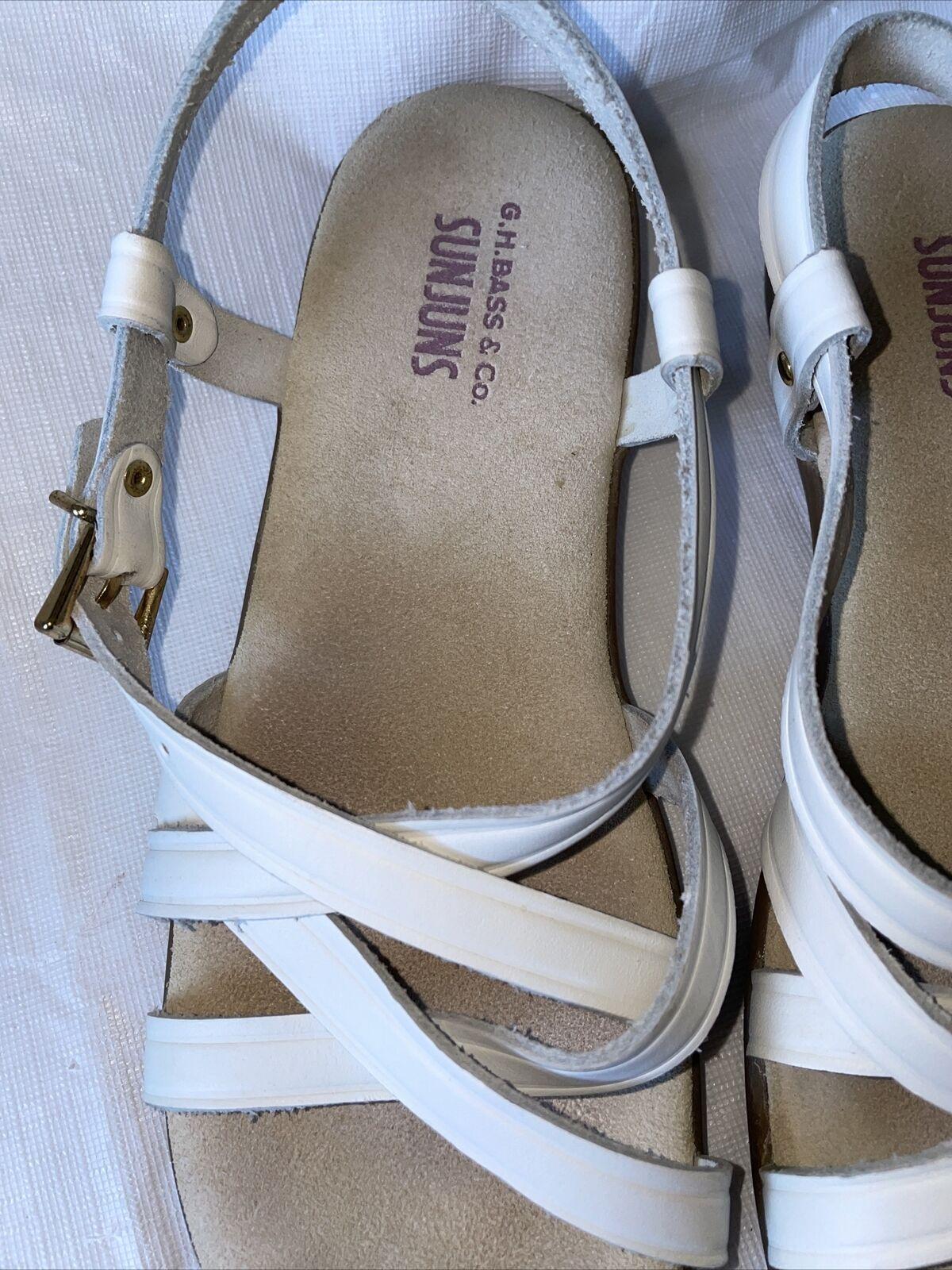 GH BASS Sunjuns Women's White Leather Sandals Str… - image 3