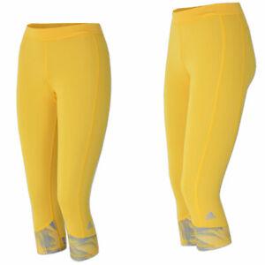 Details zu adidas Techfit Capri Tight Print Women gelb Lauftight Running Hose Fitness