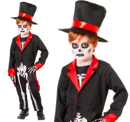 Childrens Mr Bone Jangles Fancy Dress Costume Halloween Boys Outfit 6-10 Yrs