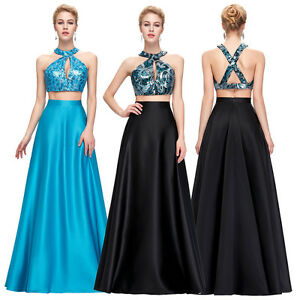 CROP TOP MAXI SKIRT Long Homecoming Cocktail Party Evening Prom ...