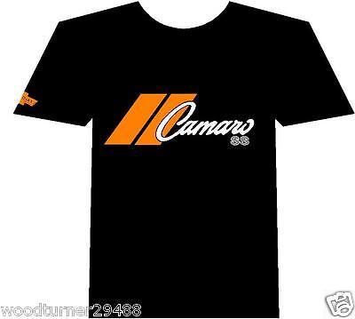 Chevy Camaro Muscle car Auto T-shirt Black 100% Cotton Orange Logo