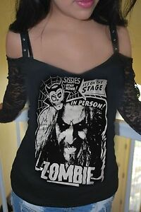 Details About Diy Rob Zombie Off Shoulder Top Black Lace Horror Gothic Metal Rock Xs Xl