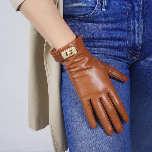 TECH GLOVES Real Leather Short Black Lambskin Sheepskin Golden Button Closure