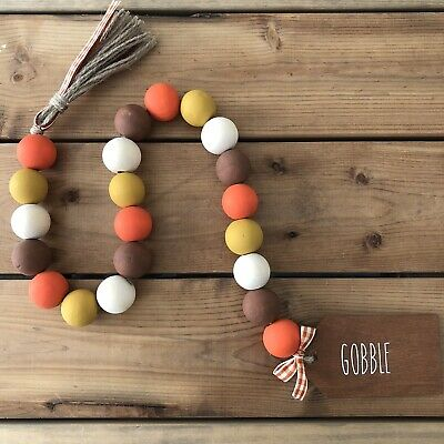 Hand Dyed Boho Wood Bead Garland Perfect for fall farmhouse decorating andor your Rae Dunn displays!