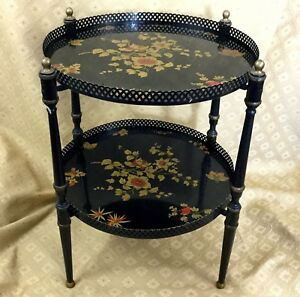 Antique-Serving-Table-Folding-Occasional-Tray-Metal-Chinese-Flowers-Harrods