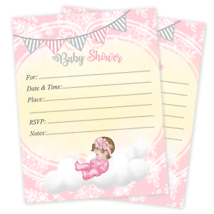 Details About 20 Baby Shower Invitations Cards Invites Decorations Envelopes Baby Girl