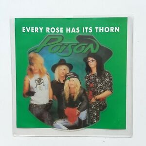 Poison-Every-Rose-Has-It-039-s-Thorn-Vinyl-7-034-Single-Shaped-Picture-Disc-NM