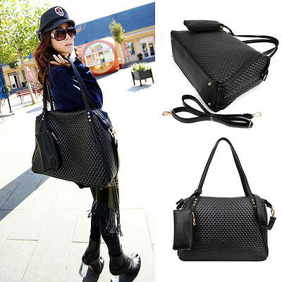 Womens Faux Leather Tote Handbag Quilted Shoulder Crossbody Messenger Bag Purse
