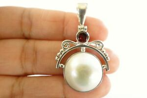 Round-White-Mabe-Pearl-Red-Garnet-2-Stone-925-Sterling-Silver-Pendant