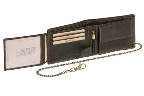 Geldbörse Biker Portmonee Portemonnaie mit Kette LEAS MCL Vintage Leder schwarz