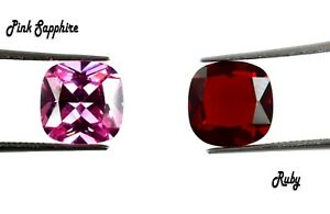 Cushion Cut 7.40 Ct Pink Sapphire & Ruby Loose Gemstone Pair Natural Certified