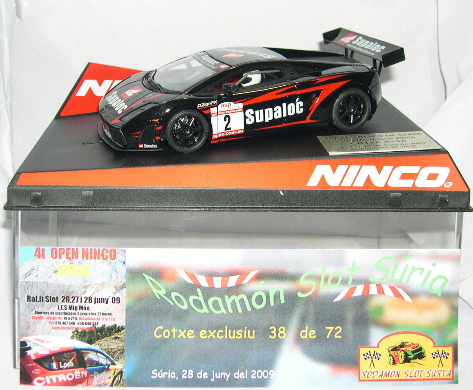 NINCO LAMBORGHINI GALLARDO IV OPEN SURIA RODAMON SLOT 2009 OFF. DRIVERS