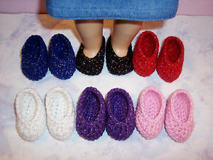 6 Pairs Of Hand Crochet Shoes For The American Girl Doll