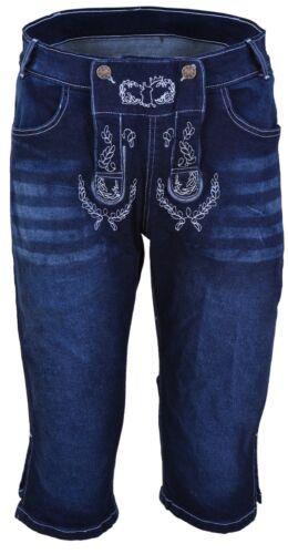 Mens Bavarian LEDERHOSEN Blue Denim Jeans Shorts