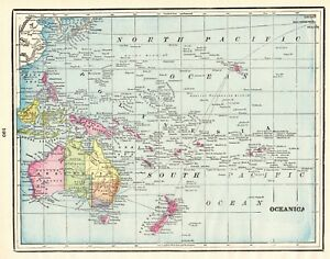 1900 Antique OCEANIA Map POLYNESIA Map Pacific Islands Map Gallery Wall Art 6165