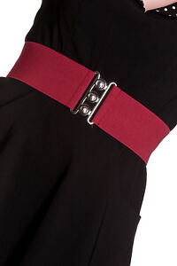 HELL-BUNNY-Retro-50s-Waist-BELT-Rockabilly-Elasticated-Burgundy-Red-All-Sizes