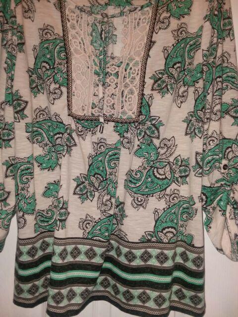 STYLE & CO Womans Tie Close Peasant Top Boho Paisley Print Long Sleeve/ XL