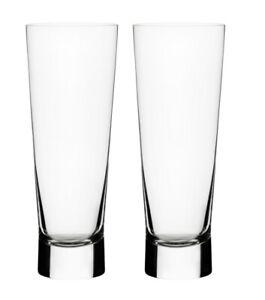 Iittala Glass Aarne Beer Glass 38cl Clear Mouthblown 2pc Set By Goran Hongell Ebay