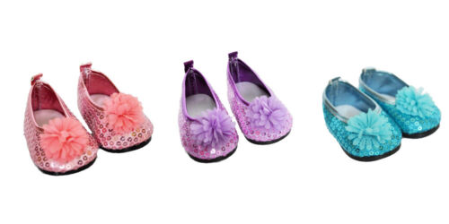 3 Pairs of Flower Shoes for 18 Inch American Girl Dolls